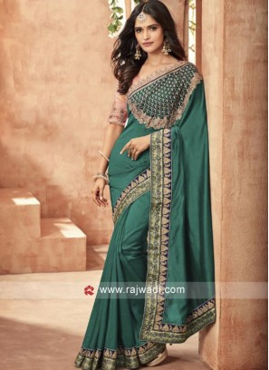 Dark Teal Designer Saree