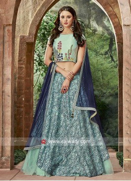 Dark Turquoise Layered Lehenga Choli
