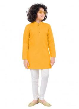 Dark Yellow And White Color Kurta Pajama