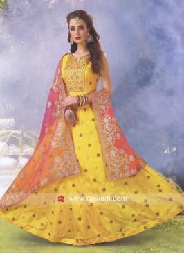 Dark Yellow Cotton Silk Anarkali Suit
