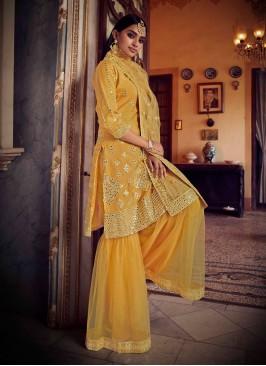 Dashing Mustard Mirror Net Designer Pakistani Salwar Suit