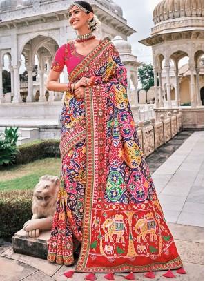 Dashing Patch Border Silk Contemporary Saree