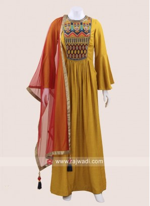 Stylish Yellow Readymade Dress