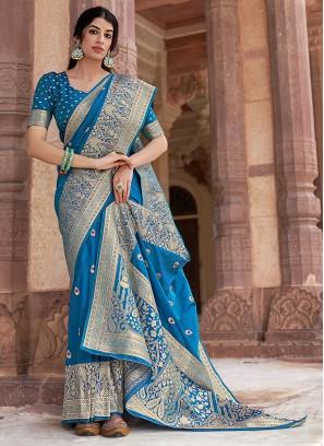 Dazzling Blue Festival Traditional Designer Saree