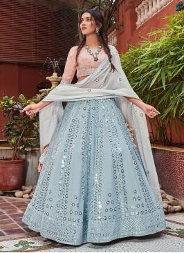 Dazzling Choli Suit In Sky Blue Color