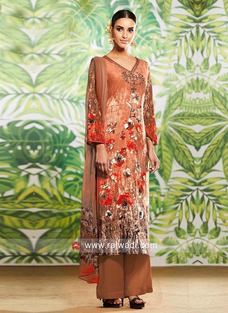 Dazzling Cotton  Print Palazzo Suit