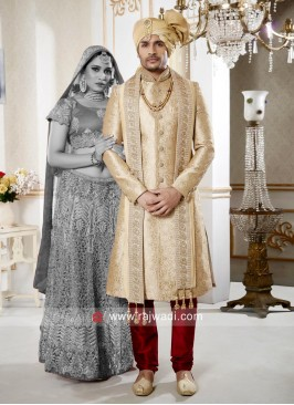 Dazzling Golden Cream Sherwani For Wedding