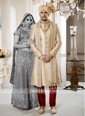 Dazzling Golden Cream Sherwani For Wedding