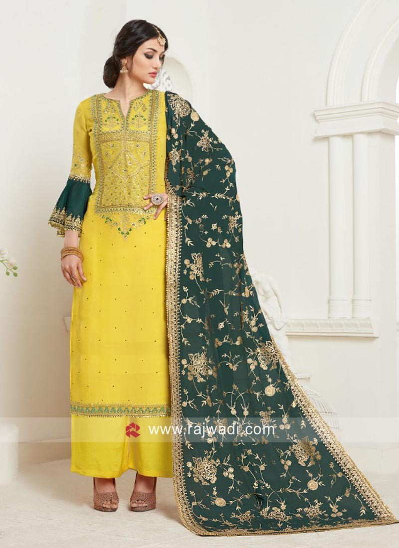 Dazzling Heavy Emroidery Palazzo Suits