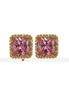 Dazzling Pink Zircon Stud Earrings