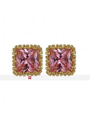 Dazzling Pink Zircon Stud Earrings