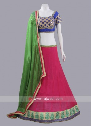 Deep Pink and Blue Choli Suit