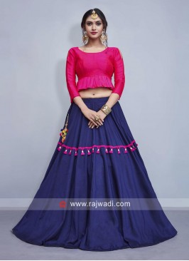 Blue Lehenga with Deep Pink Crop Top