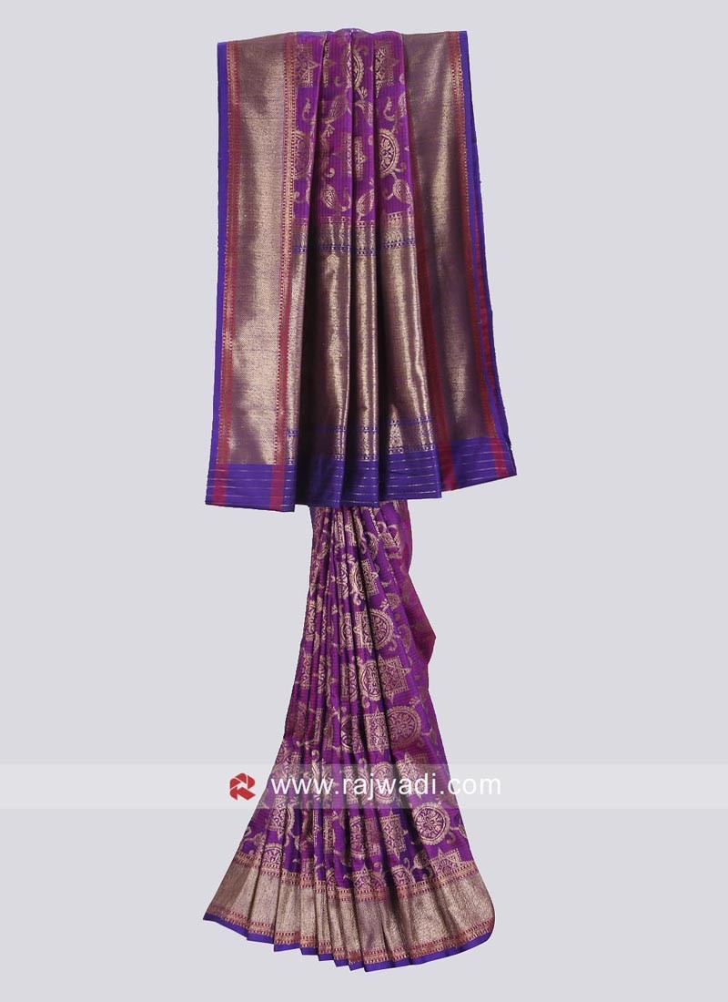 Deep Pink and Dark Purple Saree