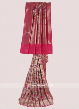 Deep Pink and Golden Weaved Saree
