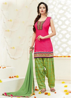 Deep Pink and Green Patiala Suit