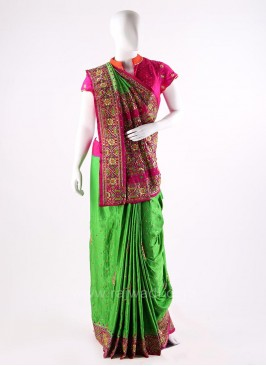 Deep Pink and Parrot Green Embroidered Saree