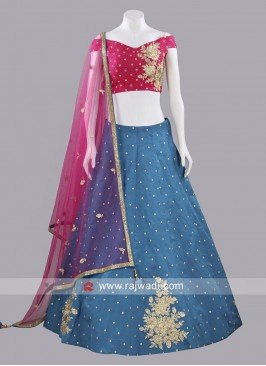Deep Pink and Peacock Blue Lehenga Suit