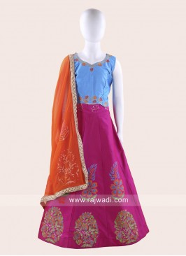 Deep Pink and Sky Blue Kids Ghagra Choli