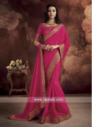 Deep Pink Border Work Saree