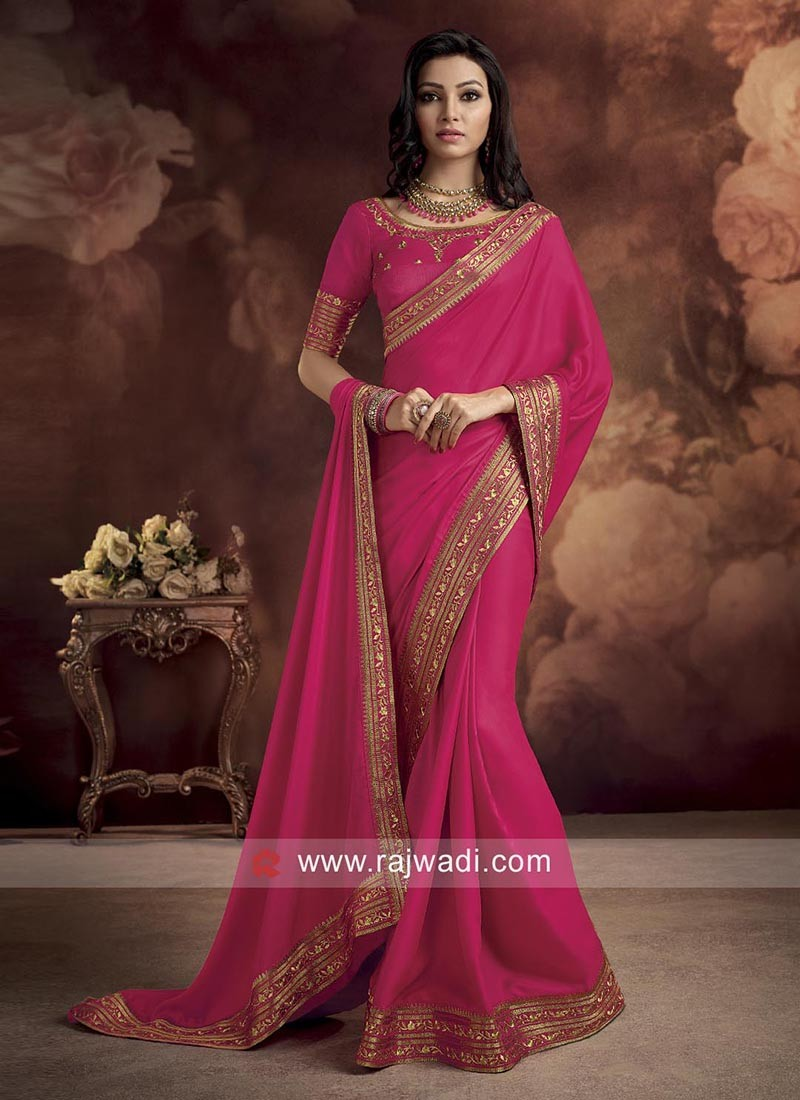 Deep Pink Border Work Saree
