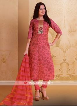 Deep Pink Casual Salwar Suit
