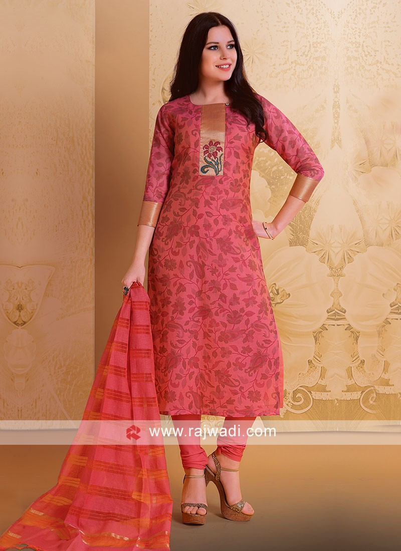 Deep Pink Casual Salwar Suit