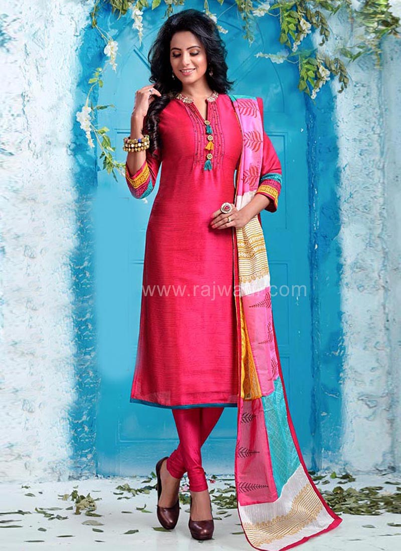 Deep Pink Churidar Suit with Cotton Silk Dupatta