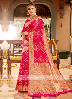 Deep Pink Color Banasari Silk Saree