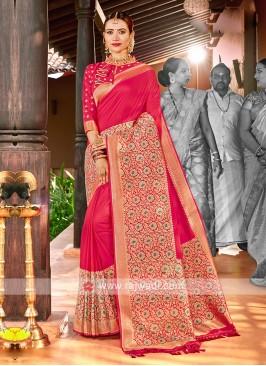 Deep Pink Color Classic Saree