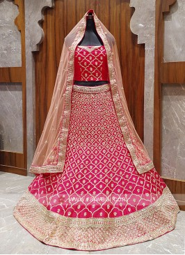 Deep pink color raw silk lehenga choli