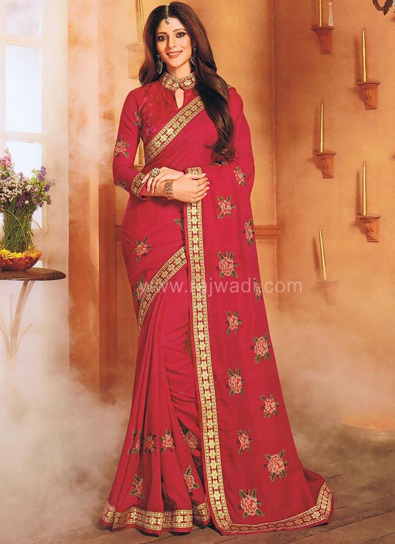 Deep Pink Color Silk Saree