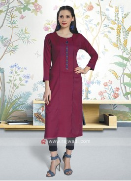 Deep Pink Color Soft Cotton Kurti