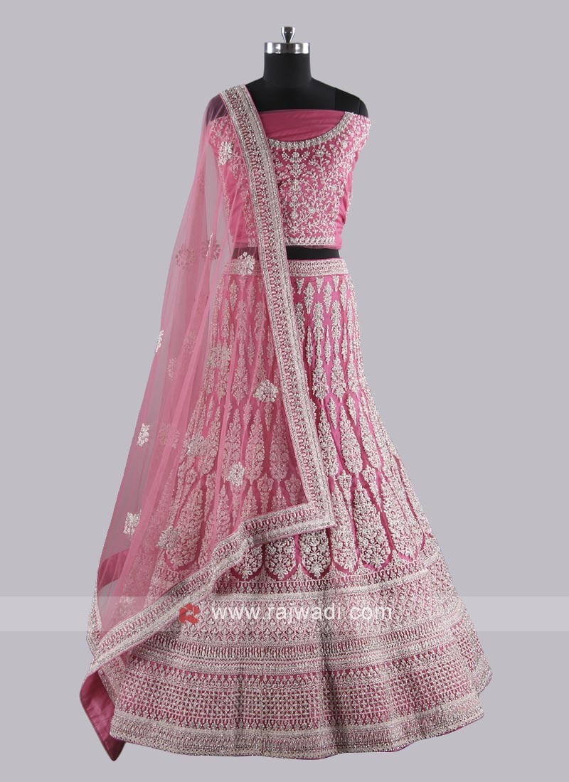 Deep Pink Embroidered Lehenga Choli