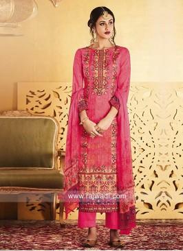 Deep Pink Printed Salwar Kameez
