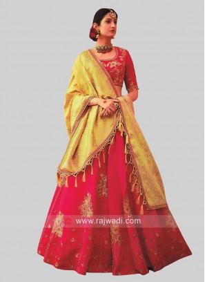 Deep Pink Raw Silk Embellished Lehenga