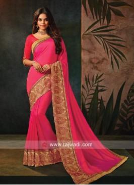 Deep Pink Saree with Border