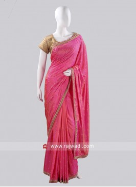 Deep Pink Saree with Lace Border