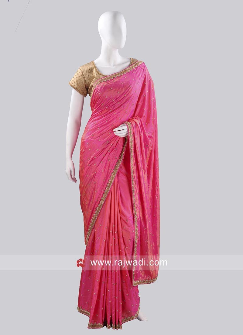 Deep Pink Saree with Lace Border