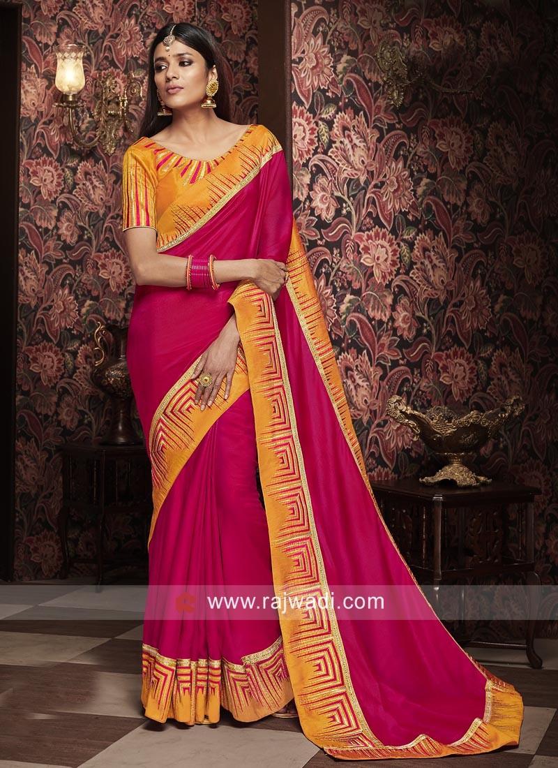 Deep Pink Sari with Contrast Border
