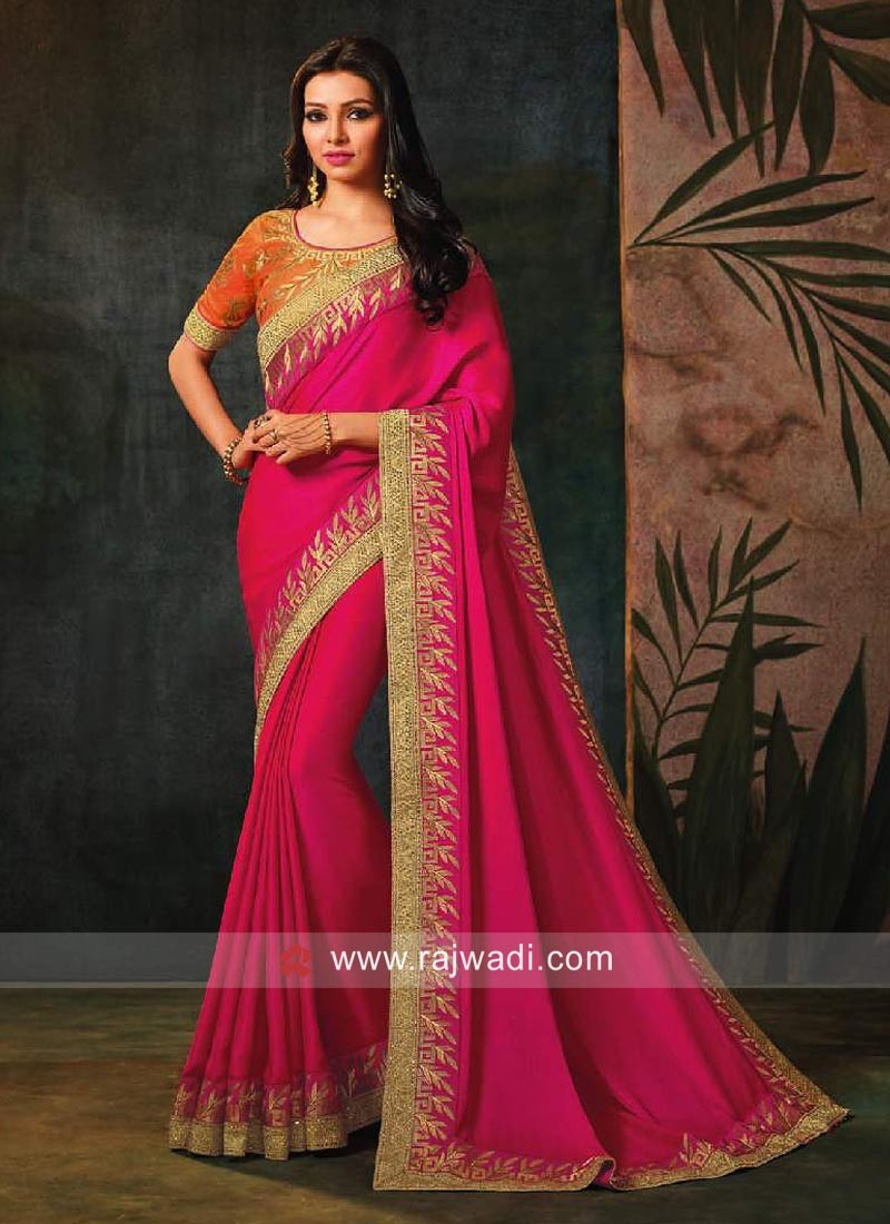 Deep Pink Stone Work Saree