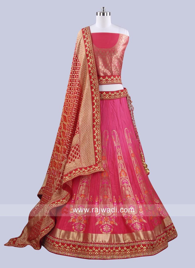 Deep Pink Unstitched Lehenga Choli