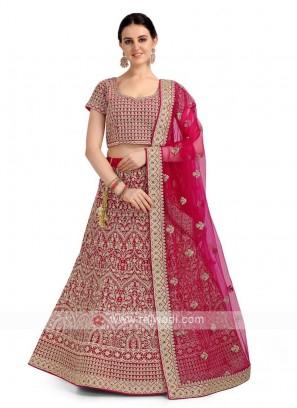 Deep Pink Velvet Lehenga Choli