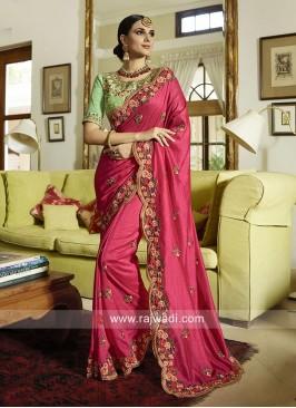 Deep Pink Wedding Saree with Cut Work Border