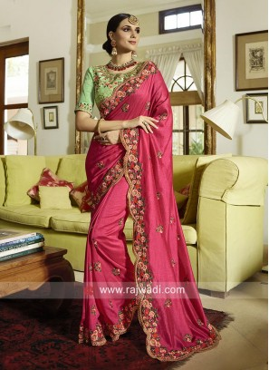 Deep Pink Wedding Saree with Cut Work Border