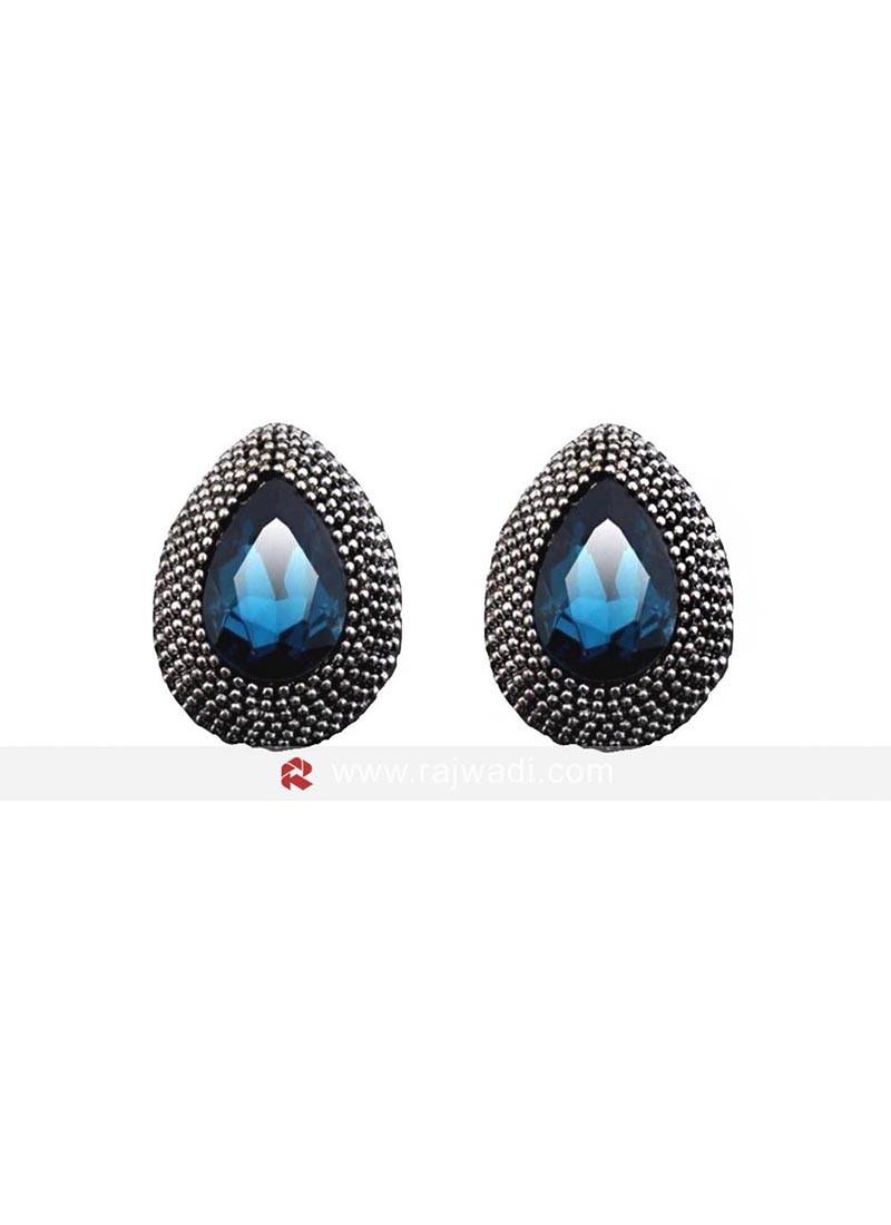 Deft Blue Crystal Stud Earrings