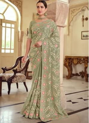 Delightful Georgette Satin Green Bollywood Saree