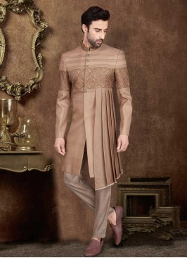 Delightful Goden Brown Color Indo-Western