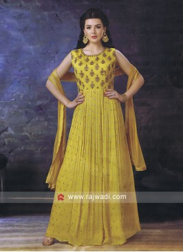Designer Anarkali in Yellow