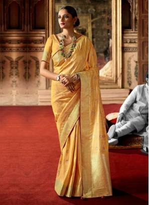 Designer Art Raw Silk Golden Yellow Color Saree